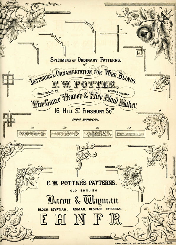 Potter's wire blind lettering and ornamentation